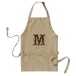 Vintage monogram BBQ aprons for men | Brown beige