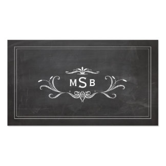 Vintage Monogram Black Rustic Chalkboard Double-Sided Standard Business Cards (Pack Of 100)