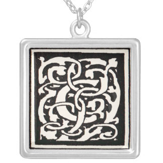 Vintage Monogram C Art Nouveau Letter Silver Plated Necklace