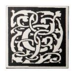 Vintage Monogram C Art Nouveau Letter Ceramic Tiles