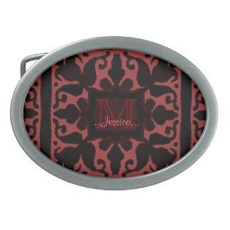 Vintage Monogram (Crimson) Oval Belt Buckle
