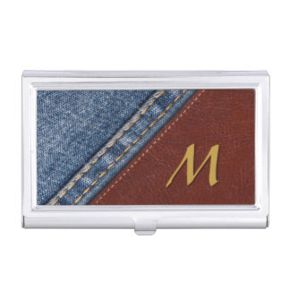 Rugged business card holders cases zazzle vintage monogram denim and leather business card holder colourmoves