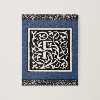 Vintage Monogram F Art Nouveau Letter Jigsaw Puzzle