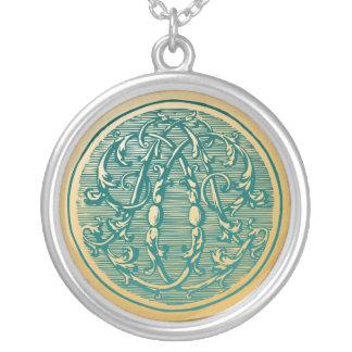 Vintage Monogram- Inital 'D' Round Pendant Necklace