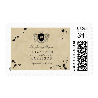 Vintage Monogram & Ink Stain Wedding Postage