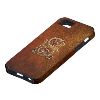 "Vintage Monogram: ""JS"" [Leather+Gold] iPhone SE/5/5s Case"
