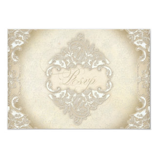 Vintage Monogram Lace Baroque Etching Swirl Formal 3.5x5 Paper Invitation Card