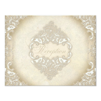 Vintage Monogram Lace Baroque Etching Swirl Formal 4.25x5.5 Paper Invitation Card