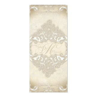 Vintage Monogram Lace Baroque Etching Swirl Formal 4x9.25 Paper Invitation Card