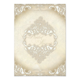 Vintage Monogram Lace Baroque Etching Swirl Formal 5x7 Paper Invitation Card