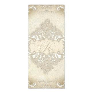 Vintage Monogram Lace Baroque Etching Swirl Formal Card