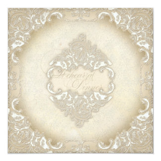 Vintage Monogram Lace Baroque Etching Swirl Formal Card