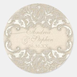 Vintage Monogram Lace Baroque Etching Swirl Formal Classic Round Sticker