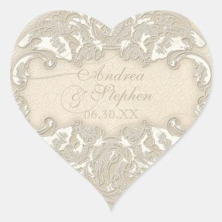 Vintage Monogram Lace Baroque Etching Swirl Formal Heart Sticker