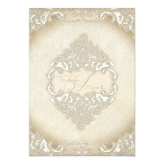Vintage Monogram Lace Baroque Etching Swirl Formal Personalized Invites