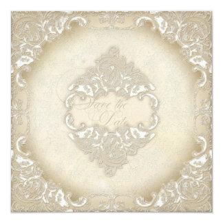 Vintage Monogram Lace Baroque Etching Swirl Formal Invitation