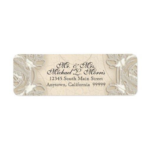 Vintage Monogram Lace Baroque Etching Swirl Formal Custom Return Address Label