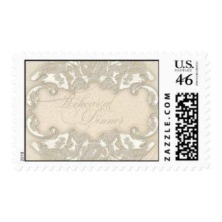 Vintage Monogram Lace Baroque Etching Swirl Formal Postage Stamps