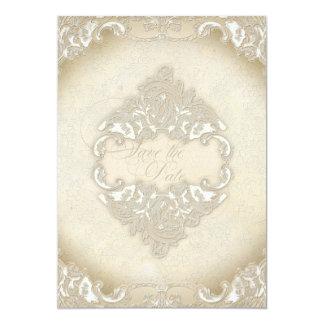 Vintage Monogram Lace Wild Pink Rose Swirl Formal 5x7 Paper Invitation Card