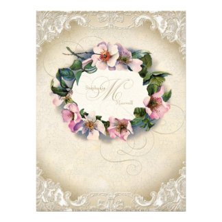 Vintage Monogram Lace Wild Pink Rose Swirl Formal Custom Announcement