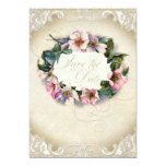 Vintage Monogram Lace Wild Pink Rose Swirl Formal 5x7 Paper Invitation Card