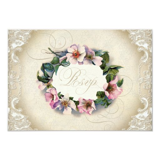 Vintage Monogram Lace Wild Pink Rose Swirl Formal 3.5x5 Paper Invitation Card