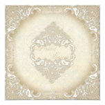 Vintage Monogram Lace Wild Pink Rose Swirl Formal 5.25x5.25 Square Paper Invitation Card