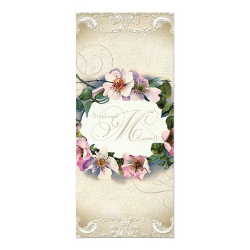 Vintage Monogram Lace Wild Pink Rose Swirl Formal 4x9.25 Paper Invitation Card