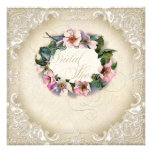 Vintage Monogram Lace Wild Pink Rose Swirl Formal Custom Invite
