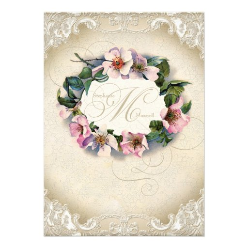 Vintage Monogram Lace Wild Pink Rose Swirl Formal Custom Announcements
