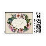 Vintage Monogram Lace Wild Pink Rose Swirl Formal Stamp