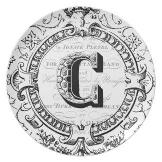 Vintage monogram letter C Dinner Plate