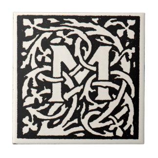 Vintage Monogram M Art Nouveau Letter Ceramic Tiles