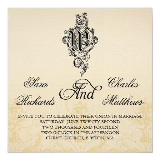 Vintage Monogram M Wedding Invitations Vines