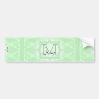Vintage Monogram (Mint Green) Bumper Sticker