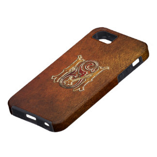 "Vintage Monogram: ""MS "" [Leather+Gold] iPhone SE/5/5s Case"