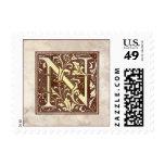 Vintage Monogram N Postage Stamps