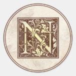 Vintage Monogram N Round Sticker
