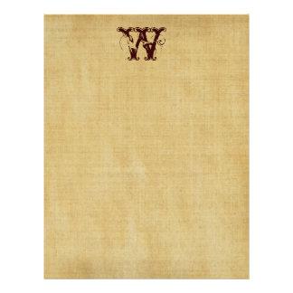 Vintage Monogram Parchment Paper Custom Letterhead