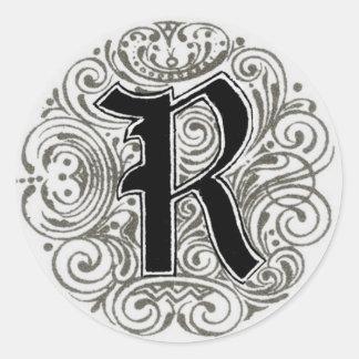 Vintage Monogram 'R' in Grey Classic Round Sticker
