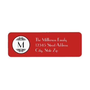 Beach Themed Vintage Monogram Red - Address Label
