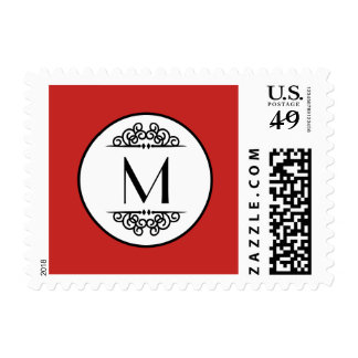 Vintage Monogram Red - Postage Stamp