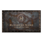 Vintage Monogram Rusty Metal Background Steampunk Business Card