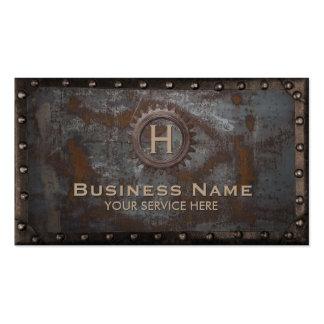 Vintage Monogram Rusty Metal Background Steampunk Business Card