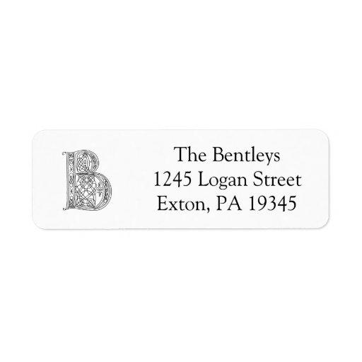 Vintage Monogram The Letter B Return Address Label