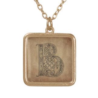 Vintage Monogram The Letter B Square Pendant Necklace