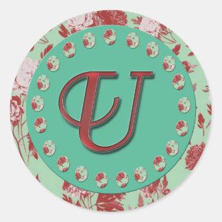 Vintage Monogram U Classic Round Sticker