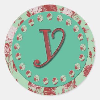 Vintage Monogram Y Classic Round Sticker