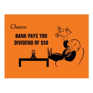 Vintage Monopoly Bank Pays You Postcard