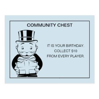 Vintage Monopoly Birthday Postcard